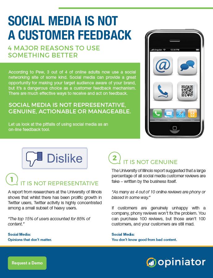 Do not use social media for customer feedback brochure