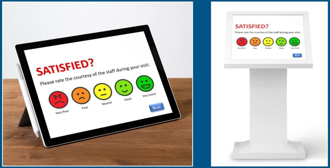 Customer feedback by tablet or touchscreen