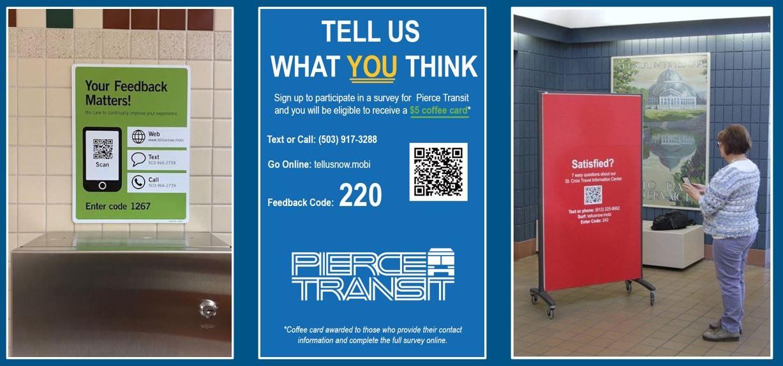 Request for passenger feedback signage