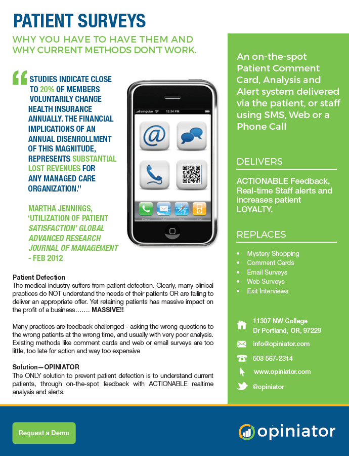 Patient feedback by cell phone brochure