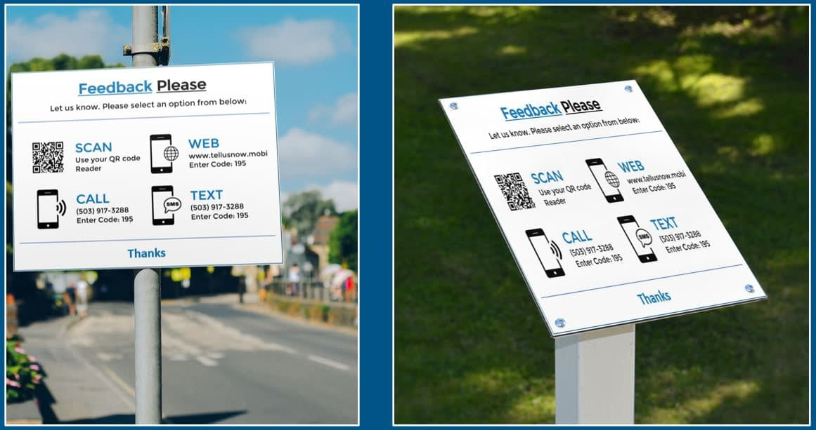 Attractions feedback request signs