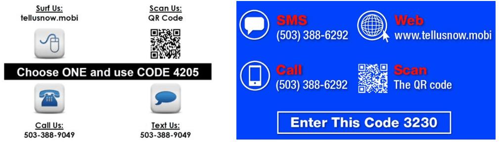 Customer feedback inputs using SMS, phone call, QR code and web