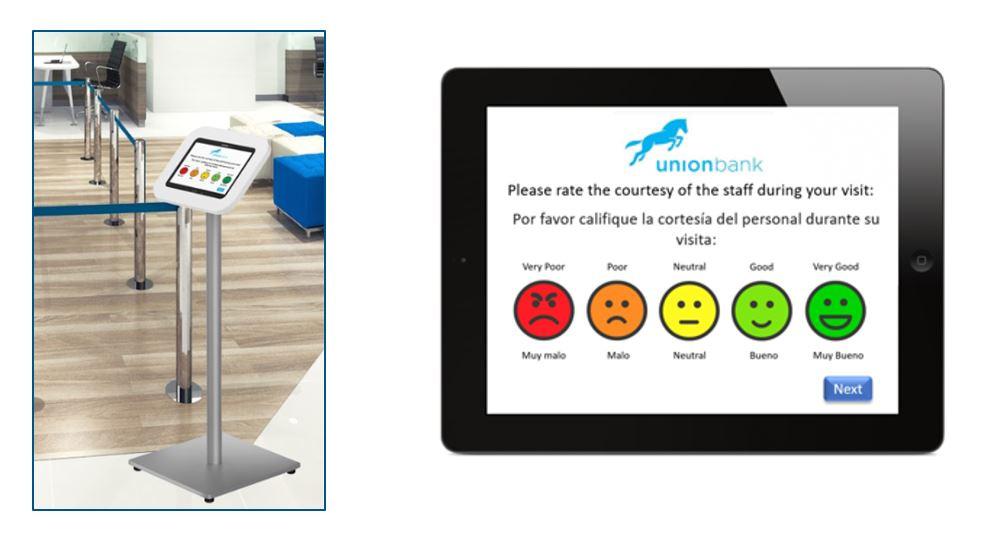 Bank customer feedback by tablet