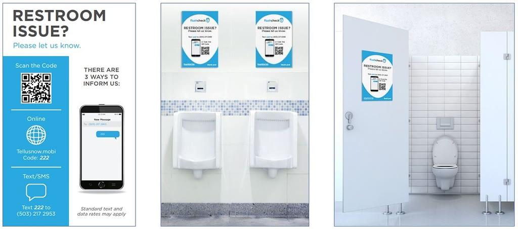 Flushcheck Signage for restroom feedback and clean restrooms