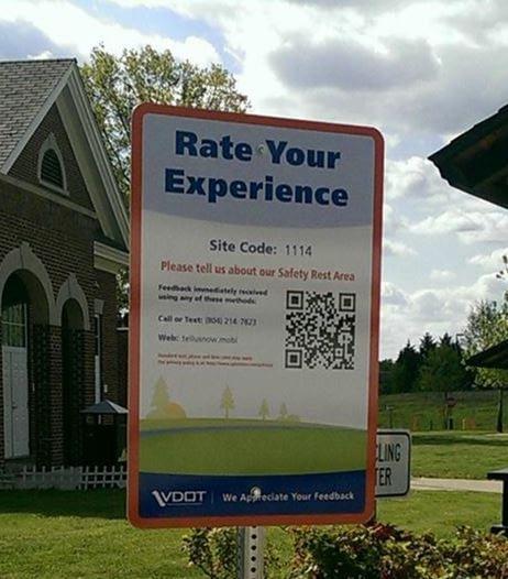 Virginia rest area visitor feedback sign