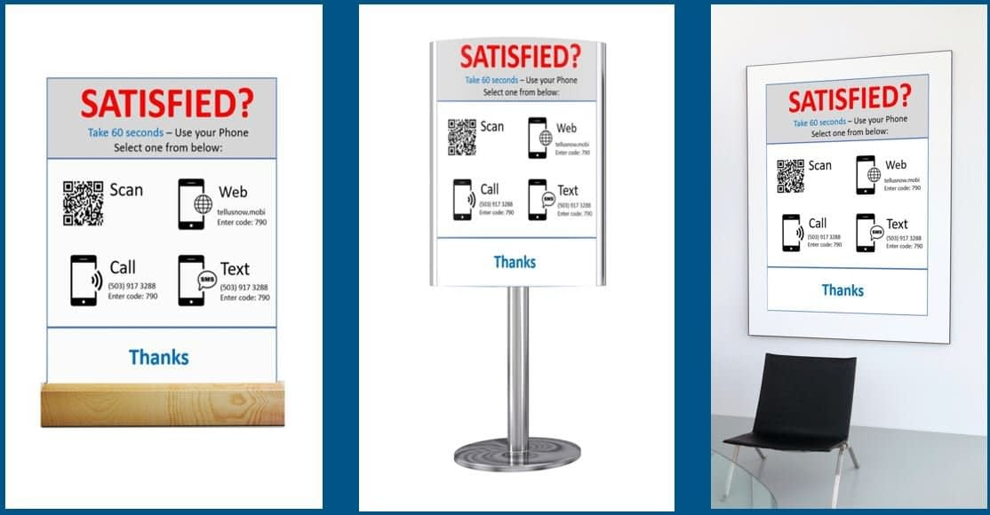 Retail bank signs requesting feedback from customers