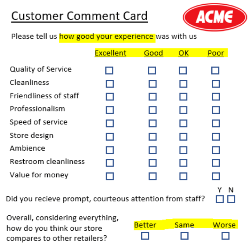 Example of bad comment card design