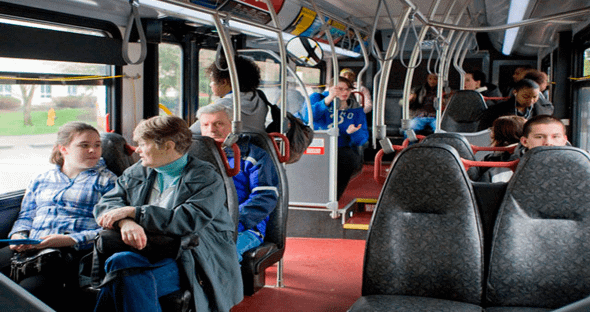 Commuters on bus