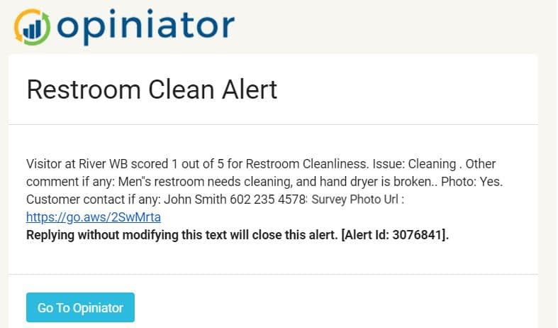Restroom user alert message via cell phone