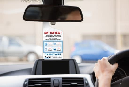 Mirror hang tag request for driver feedback