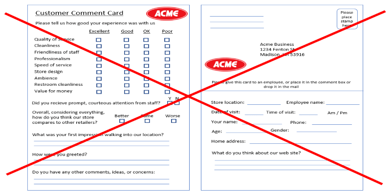 Comment Cards for Feedback are a bad idea