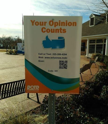Louisiana rest area visitor feedback sign