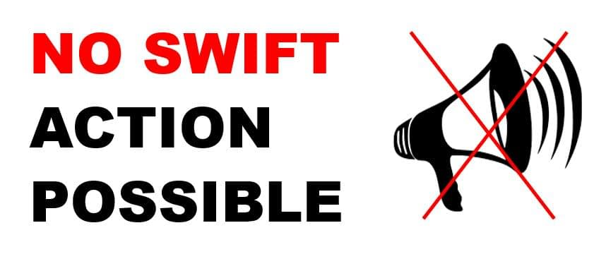 No swift action by the business possible with a comment card