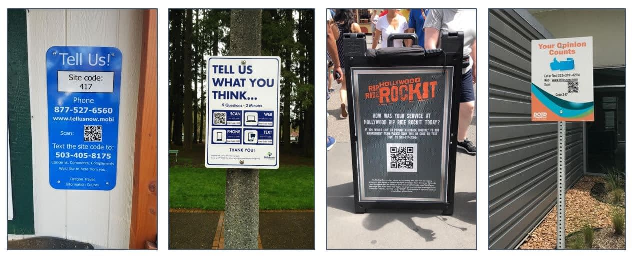 Outdoor signs requesting visitor feedback via their cell phone
