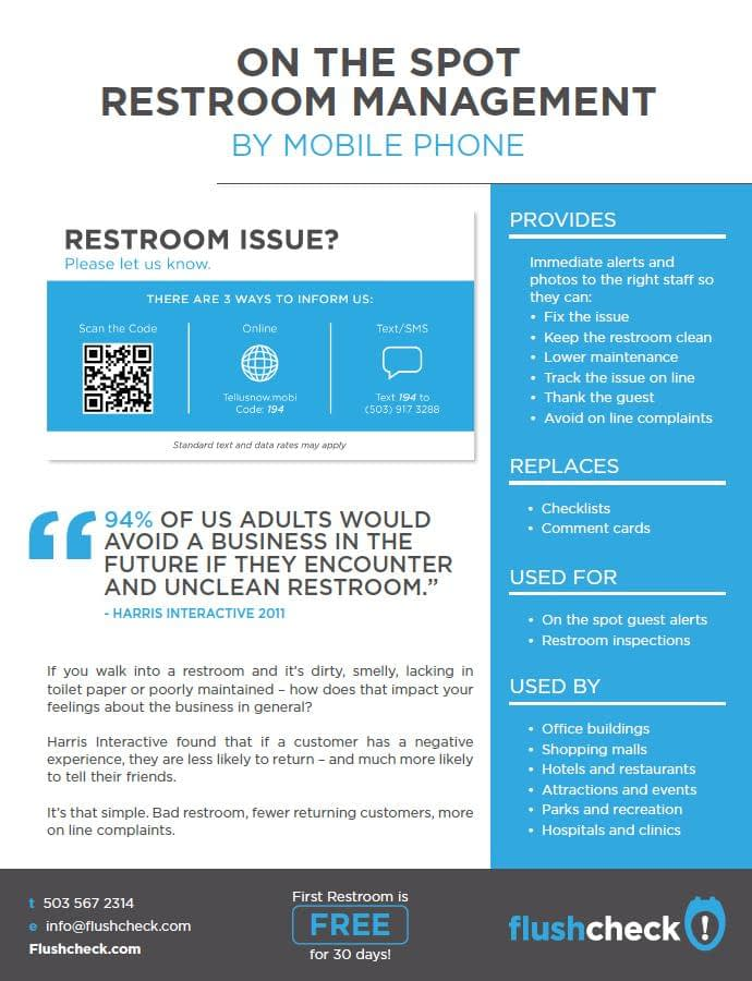 Restroom feedback via cell phone brochure