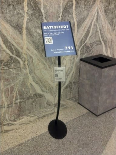 Minnesota rest area visitor feedback sign