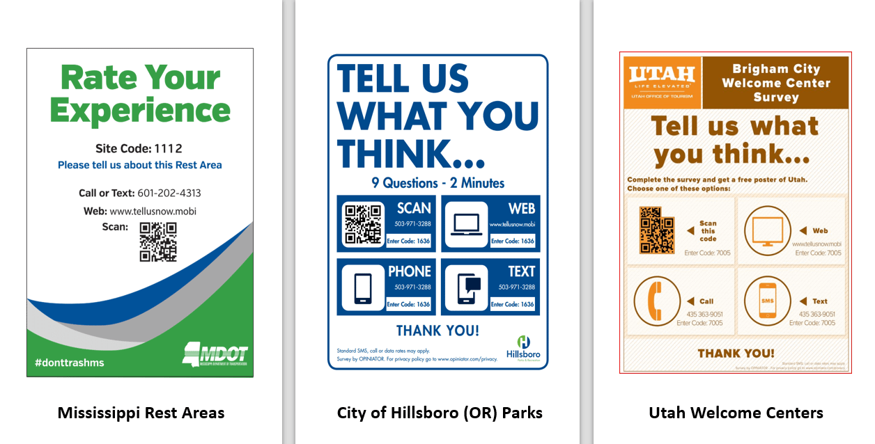 Outdoor signs requesting visitor feedback
