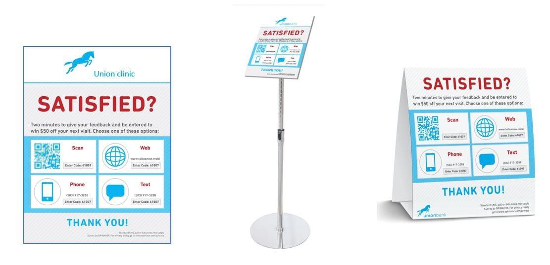 Health clinic feedback signs