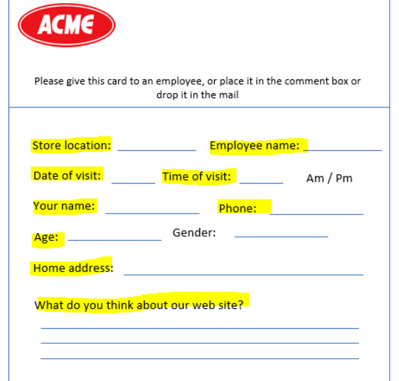 Comment card request for personal information