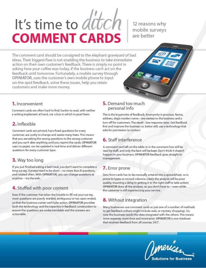 American Solutions Ditch the Comment Card