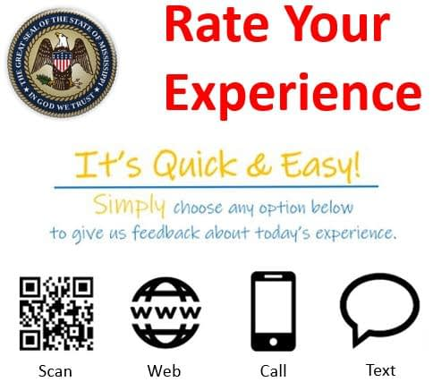 Mississippi DMV feedback sign