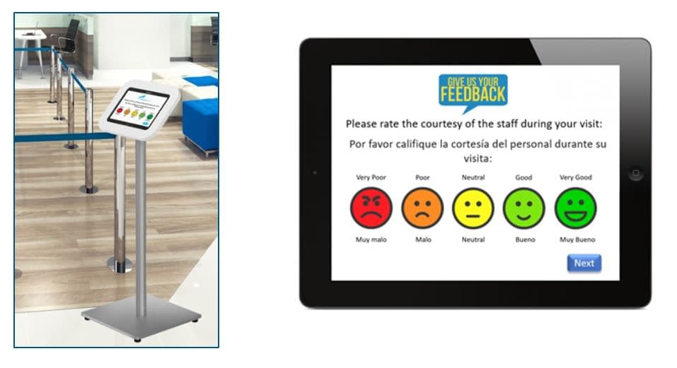Guest feedback using a tablet and smiley faces