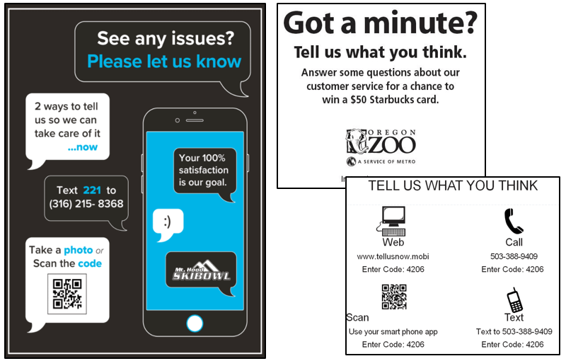 Zoos and attractions requesting visitor feedback via cell phone