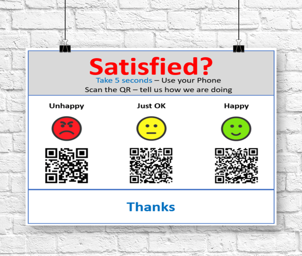 Wall sign for smiley face feedback