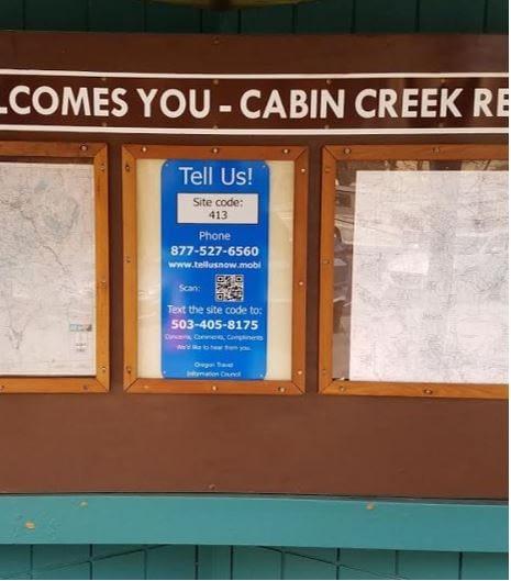 Oregon rest area visitor feedback sign